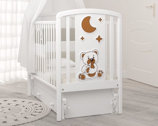 Детская кроватка с универсальным маятником Angela Bella Жаклин Мишка с соской