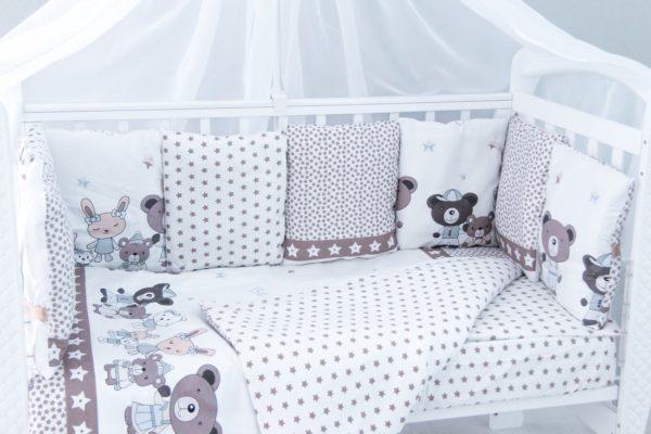 """Комплект в кроватку """"подушками"""" 6 предметов """"Звездные друзья"""" (сатин)"""
