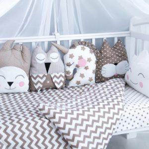"""Комплект в кроватку 3D """"подушками"""" 6 предметов """"Буше"""" кофе"""