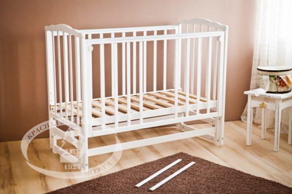 """Кровать детская Можга (Красная Звезда) """"Кристина"""",  ЗН с/с, белый, ваниль, слоновая кость, серыйС 619 Э"""